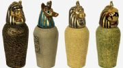 Small Egyptian Style Set of 4 Canopic Jars
